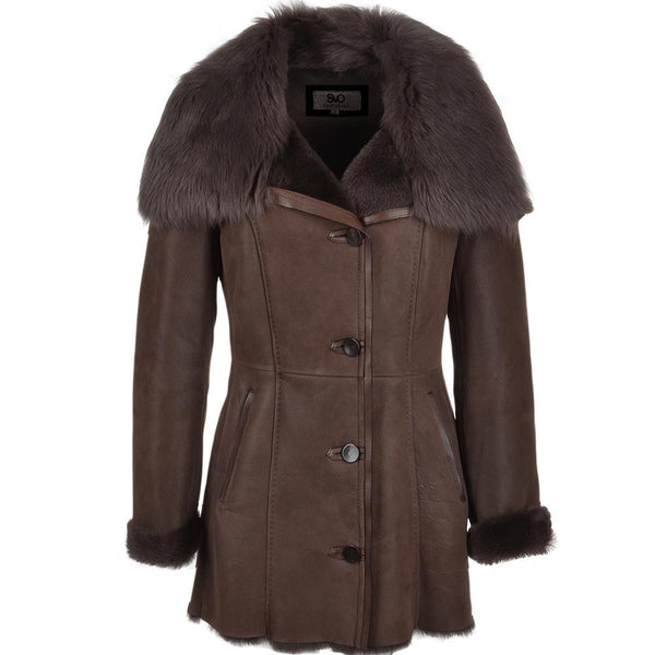 Women's Brown 7/8 Sheepskin Leather Coat Fur Collar Cuff Trim