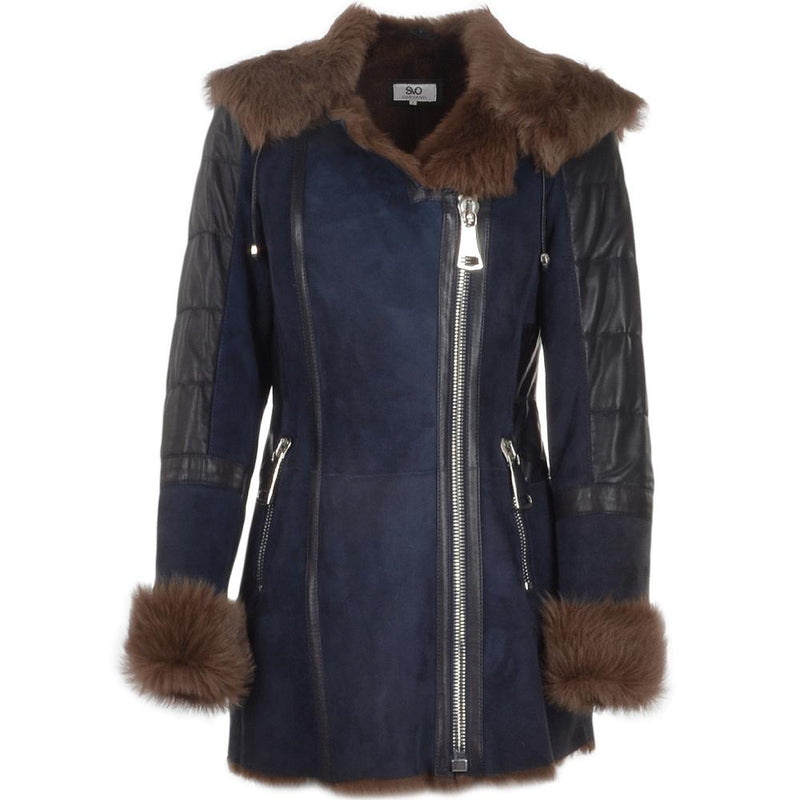 Women's Sheepskin Leather 7/8 Fur Hooded Cuff Trimmings Coat