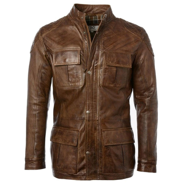 Men's Lambskin Leather Hip Modern Car Coat
