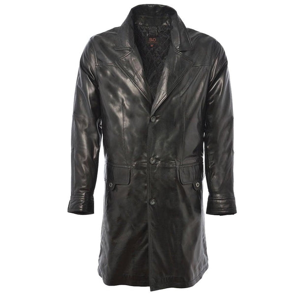 Men's Leather 3/4 Mid-Length 3 Button Coat