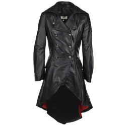 Women's Black Gothic Double Breasted Leather Trench Coat