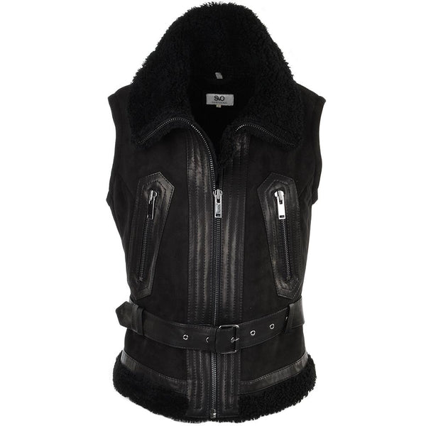 Women's Black Suede Leather Biker Vest