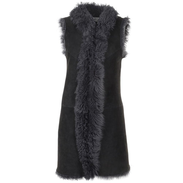 Women's Sheepskin Suede Fur Leather Vest