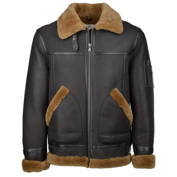 Dark Brown Sheepskin Leather Aviator Flying Jacket