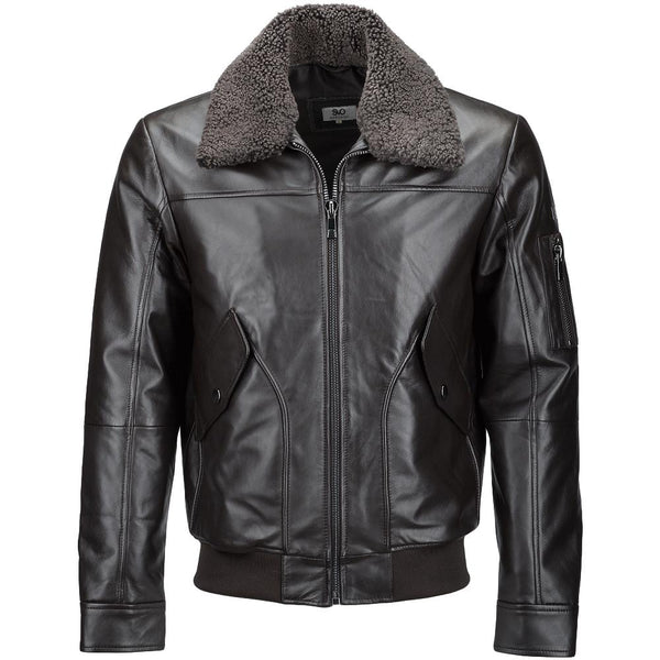 Men's Leather Fur Collar Aviator Pilot Jacket