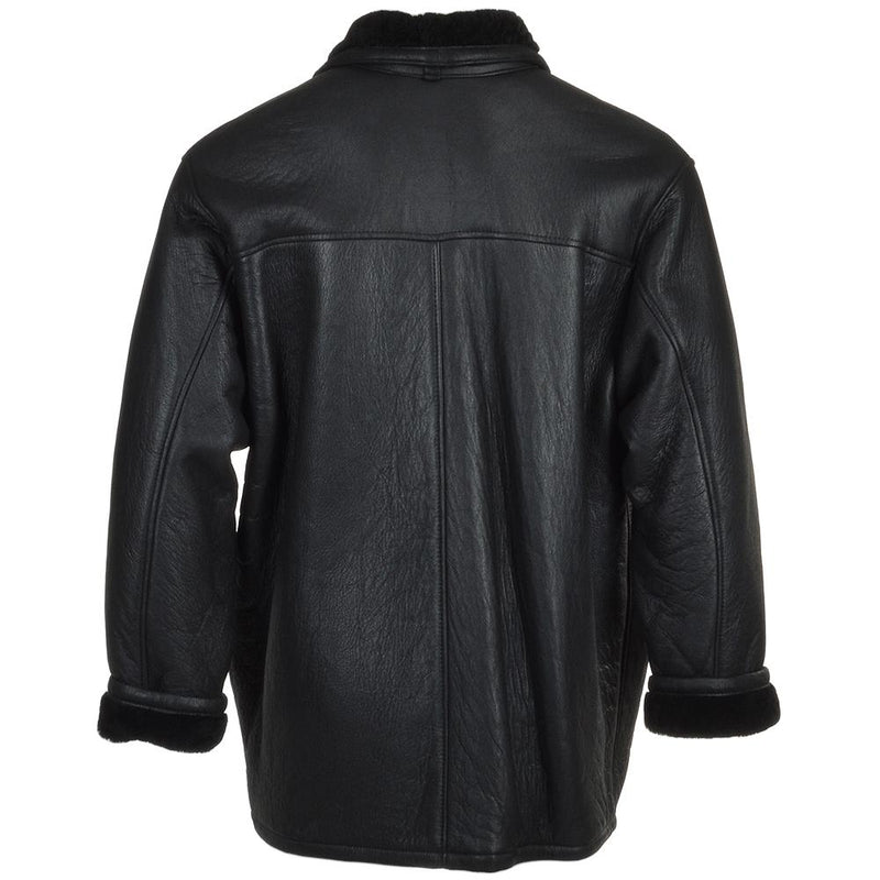 Men's Black Sheepskin Leather 3 Button Car Coat