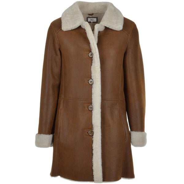 Women's Sheepskin Leather Fur Trim 7/8 Coat