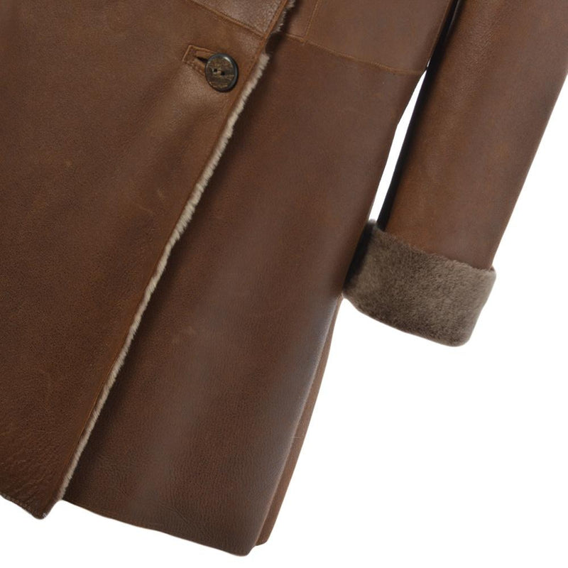 Women's Brown Sheepskin Leather 2 Button Hooded Long Coat