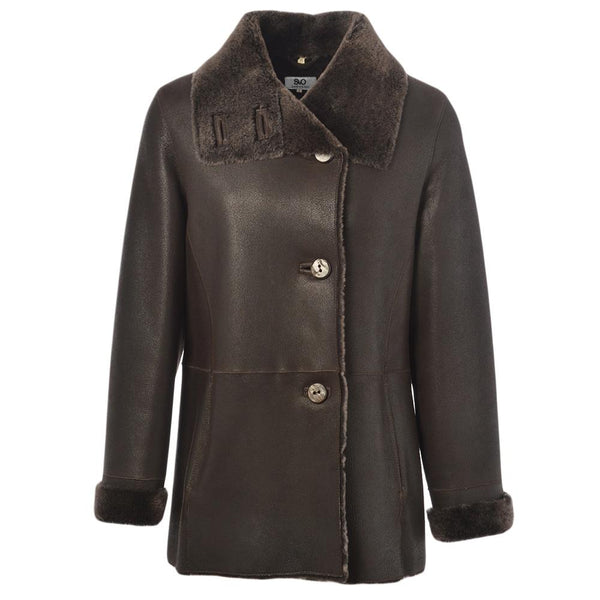 Women's Sheepskin Leather 3/4 Button Down Jacket