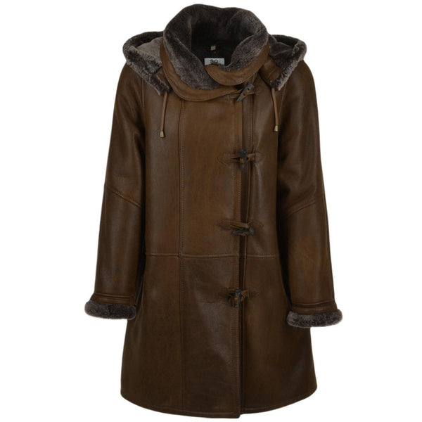 Women's Sheepskin Leather Hooded Duffle Coat
