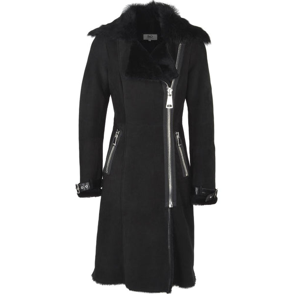 Women's Black Suede Leather Fur Hooded Long Coat