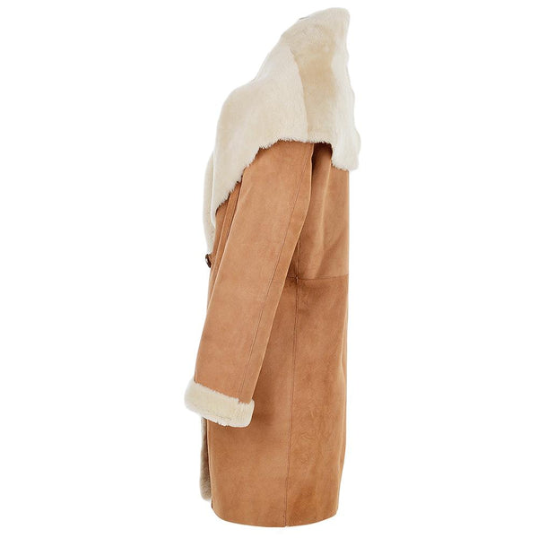 Women's 1 Button Tan Sheepskin Leather 7/8 Coat