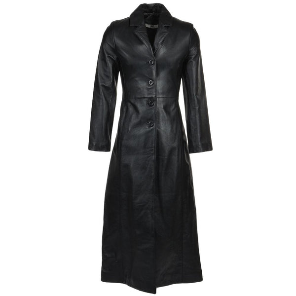Women's 4 Button Black Leather Trench Coat