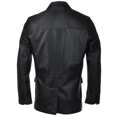 Men's Classy 3 Button Leather Blazer
