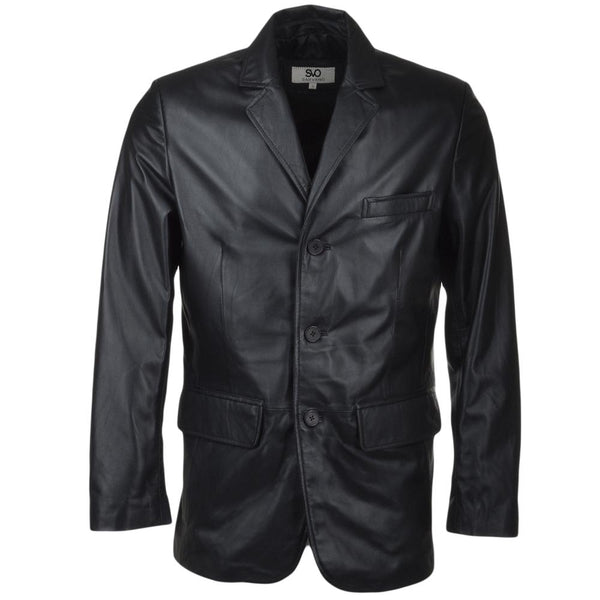 3 Button leather blazer jacket