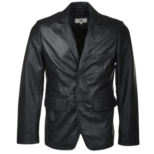 2 Button Leather Blazer Jacket