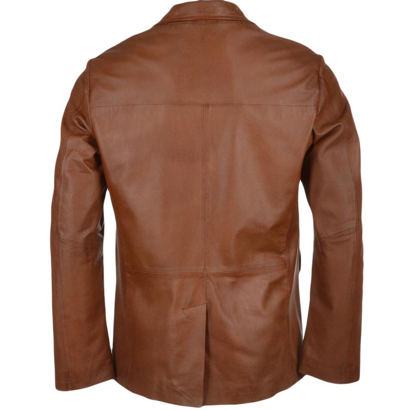 Men's Classy 2 Button Leather Blazer