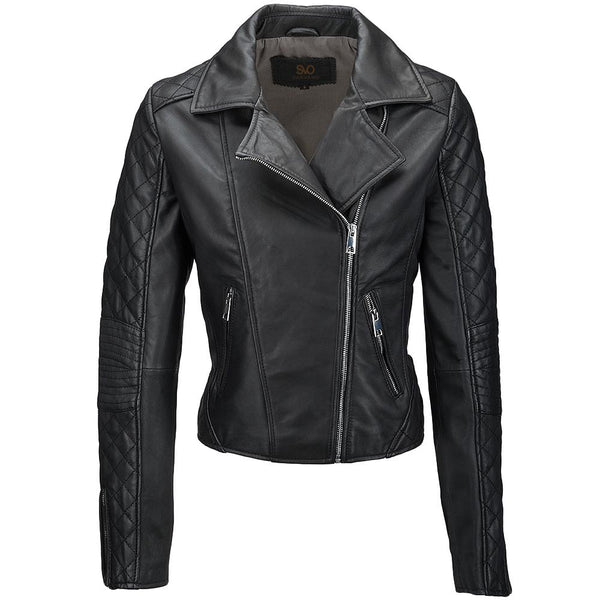 Women's Leather Quited Biker Jacket