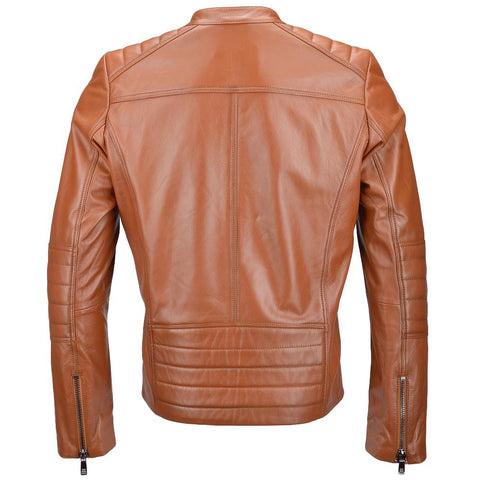 Men's Ribbed Design Leather Biker Jacket