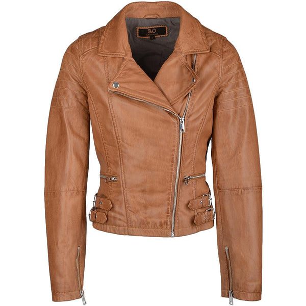Women's Classic Modern Quilted Biker Leather Motorcycle Jacket