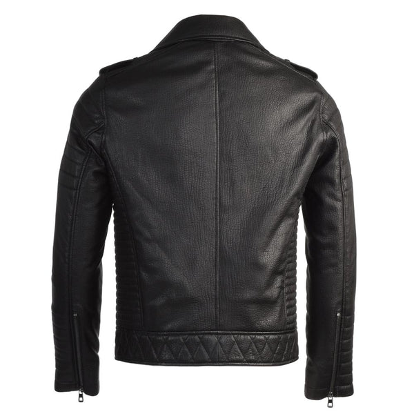 Men's Full Grain Modern Hip Leather Quilted Black Moto Jacket
