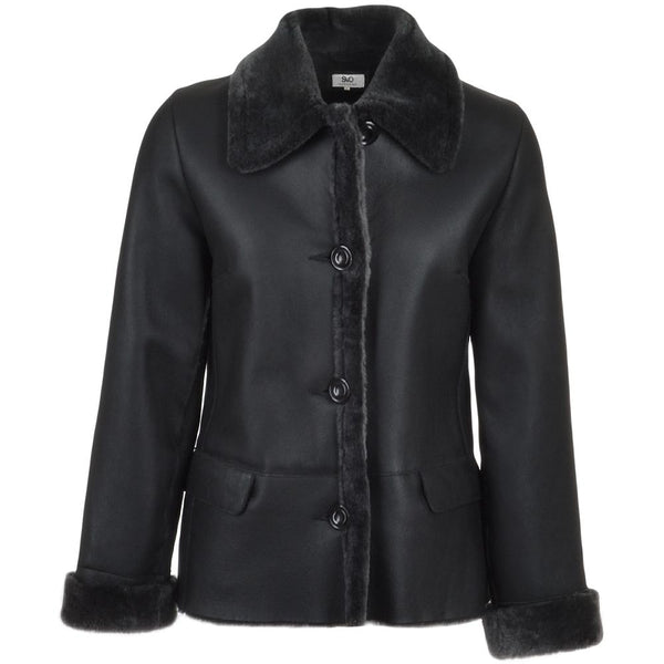 Women's 3 Button Sheepskin Suede Black Leather Short  Fur Trim Jacket