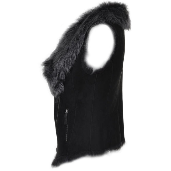 Women's Black Suede Leather Fur Trim Vest