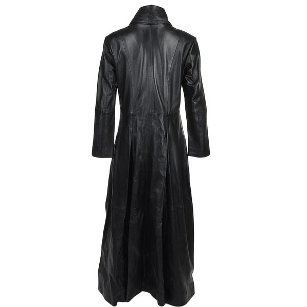 Women's Lambskin Leather Black Long Length Gothic Coat