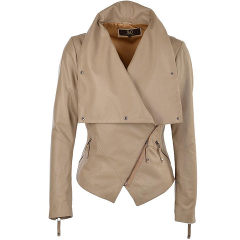 Women's Luxe Leather Biege High Lapel Snap Button Short Jacket