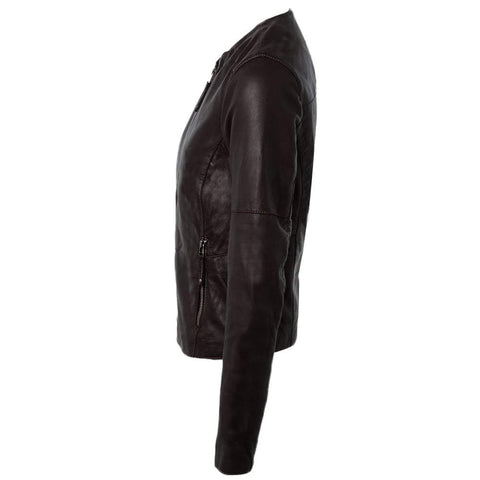 Women's Collarless Short Leather Jacket