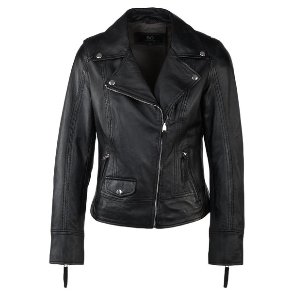 Women's Black Classic Leather Motocycle Jacket