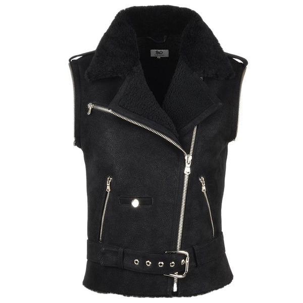 2 in 1 Suede Leather Black Motorcycle Jacket Removable Sleeves