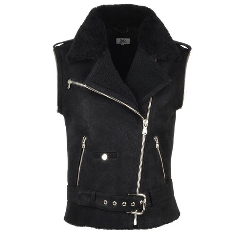 Women's 2 in 1 Suede Leather Black Motorcycle Jacket Removable Sleeves