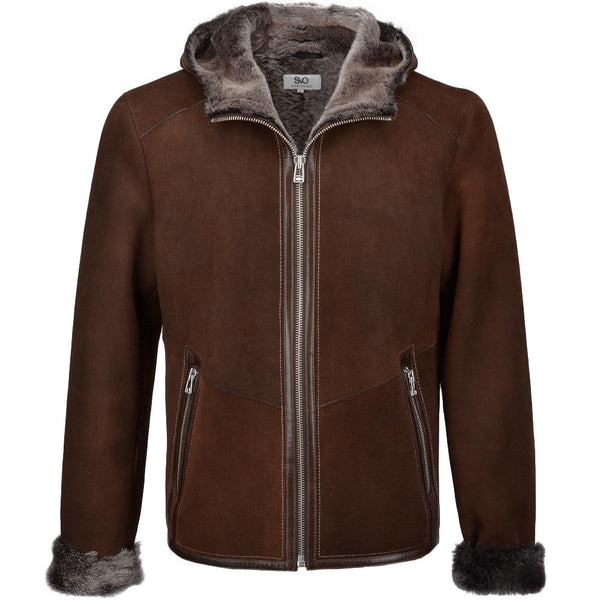 Men's Brown Sheepskin Leather Fur Trim Hood 3/4 Jacket