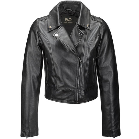 Women's Classic Leather Motorcycle Jacket