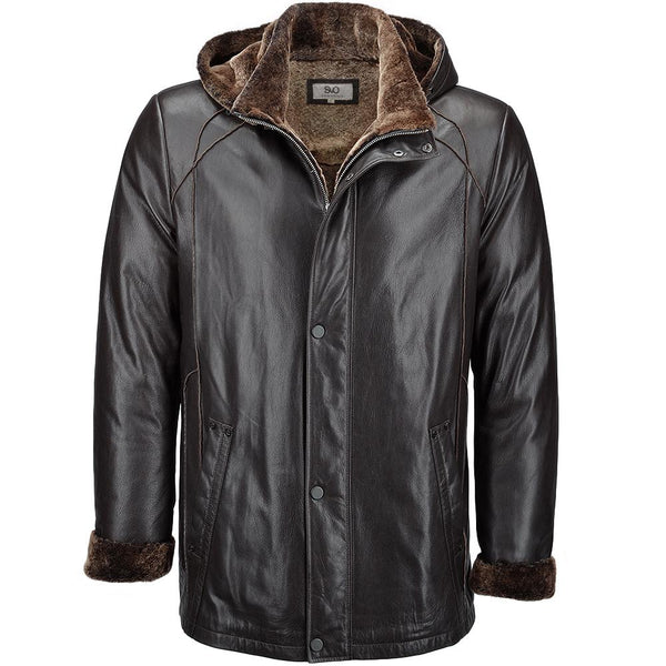 Hooded Sheepskin Leather jacket Fur trim
