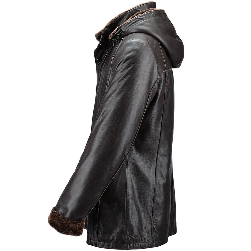 Men's Brown Hooded Sheepskin Leather 3/4 Jacket Fur Hood Trim