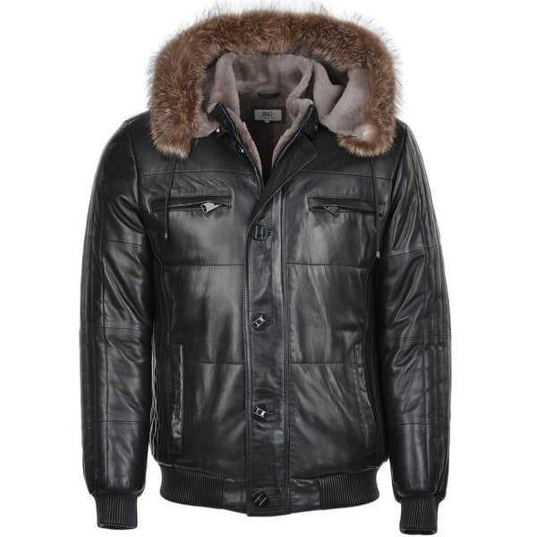 Lambskin Leather Puffer Jacket Fur