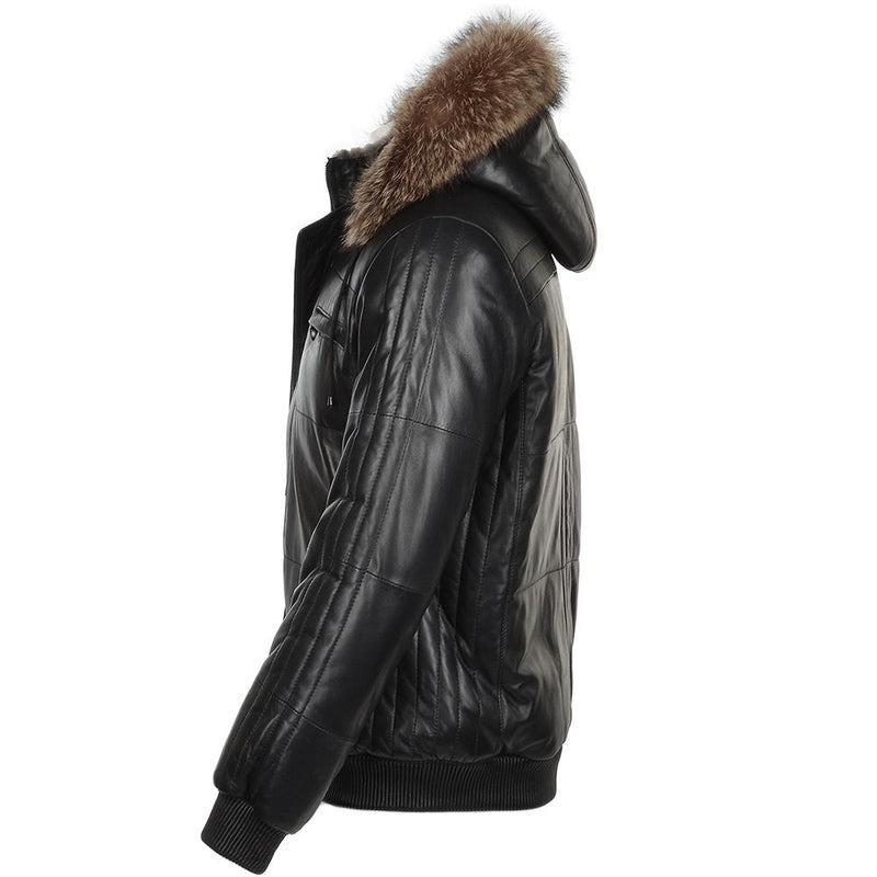 Men's Black Lambskin Leather Fur Trim Puffer Jacket