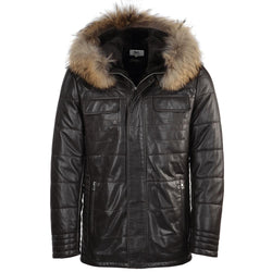 Men's Lambskin Leather Fur Trim Hood Brown Puffer Jacket