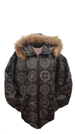 Men's Big Rims Embroidery Soft Leather Classic Jacket with Fur Hood