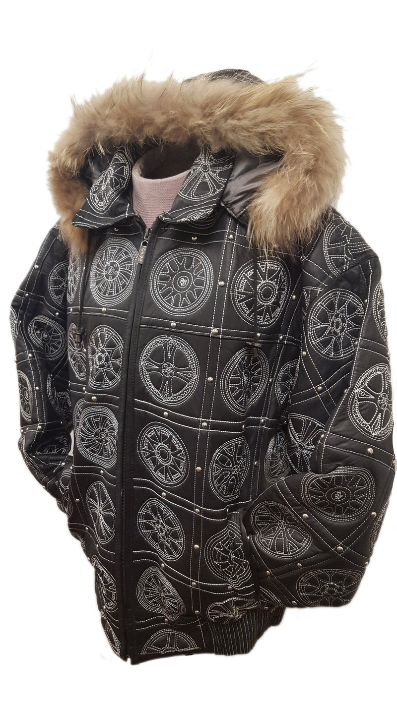 Men's Big Rims Embroidery Soft Leather Classic Jacket with Fur Hood (BIG AND TALL SIZES)