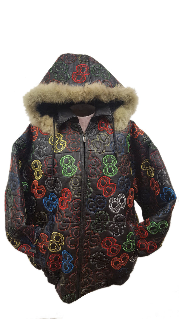 Men's Gangsta 8 Embroidery Soft Leather Classic Jacket with Faux Fur Hood