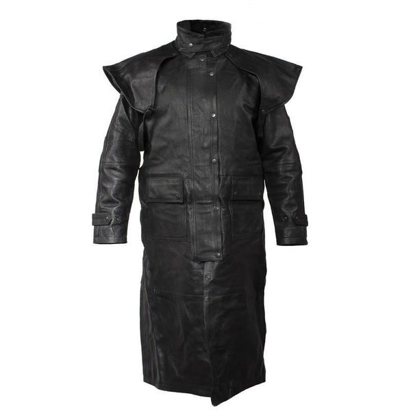 Men's Heavy Duty Premium Leather Duster Trench Coat with Cape & Zipout Lining