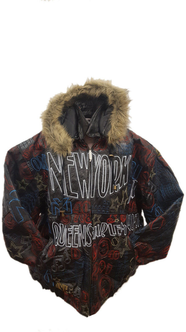Men's New York Embroidery Soft Leather Classic Jacket with Fur Hood (BIG AND TALL SIZES)
