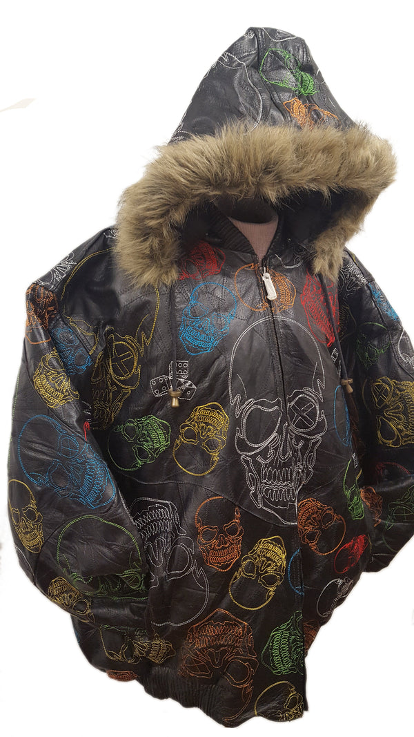 Men's Skull Embroidery Soft Leather Classic Jacket with Fur Hood (BIG AND TALL SIZES)