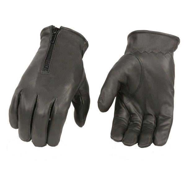 Black Zipper Leather Gloves