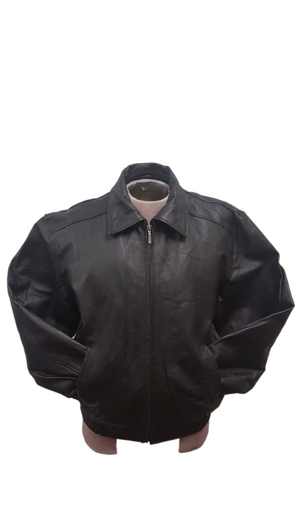 Men's Contemporary Black Straight Leather Jacket