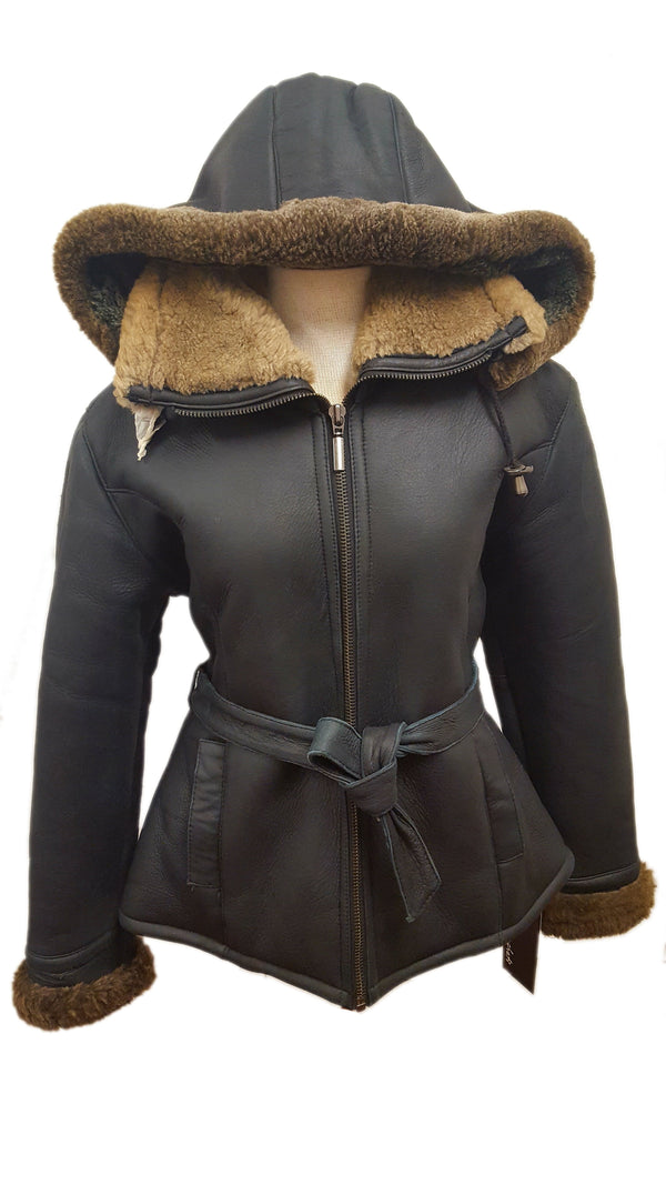 Ultra-soft Sheepskin Imitation Shearling Women's Hooded Belted Short Jacket