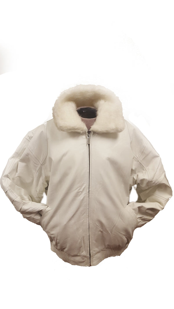 Men's White Reversible Leather Faux Fur Jacket